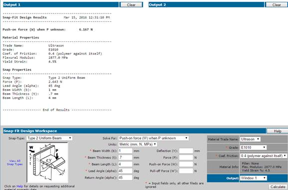BASF online snap fit design calculator